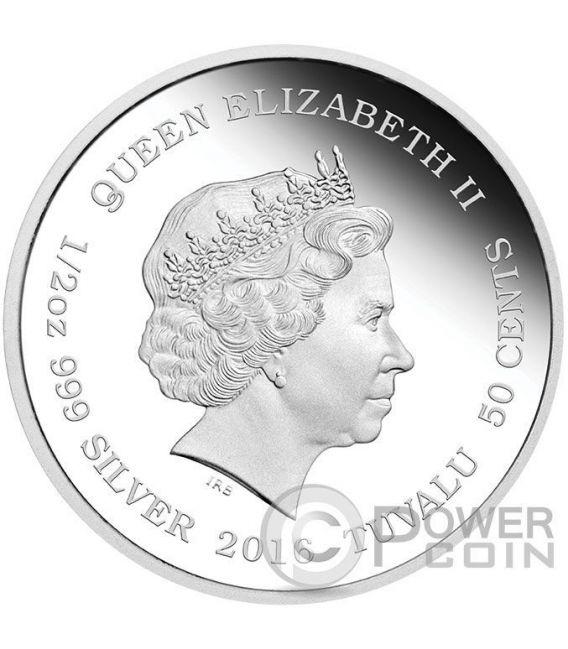 SNOW LEOPARD CUBS Baby Moneda Plata 50 Cents Tuvalu 2016