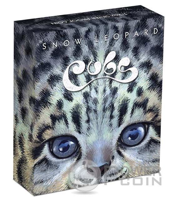 SNOW LEOPARD CUBS Leopardo delle Nevi Cucciolo Moneta Argento 50 Centesimi Tuvalu 2016