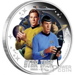 CAPTAIN JAMES KIRK AND SPOCK Star Trek Silber Münze 1$ Tuvalu 2016