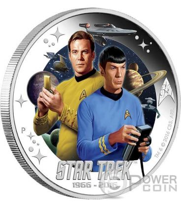 CAPTAIN JAMES KIRK AND SPOCK Capitano Star Trek Moneta Argento 1$ Tuvalu 2016