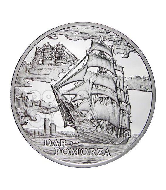 DAR POMORZA Sailing Ship Silber Münze Hologram Belarus 2010