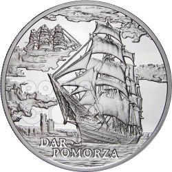 DAR POMORZA Sailing Ship Серебро Монета Hologram Белоруссия 2010
