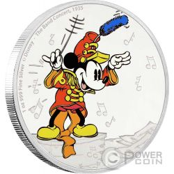 MICKEY BAND CONCERT Topolino Through The Ages Disney 1 Oz Moneta Argento 2$ Niue 2016