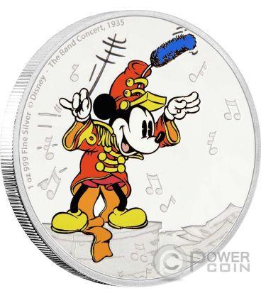 MICKEY BAND CONCERT Topolino Through The Ages Disney 1 Oz Moneta Argento 2$ Niue 2016