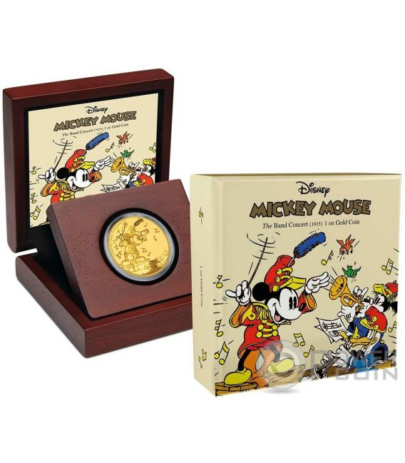 MICKEY BAND CONCERT Through The Ages Disney 1 Oz Gold Münze 250$ Niue 2016