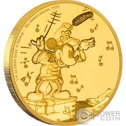 MICKEY BAND CONCERT Through The Ages Disney 1/4 Oz Moneda Oro 25$ Niue 2016