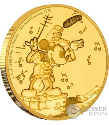 MICKEY BAND CONCERT Topolino Through The Ages Disney 1/4 Oz Moneta Oro 25$ Niue 2016