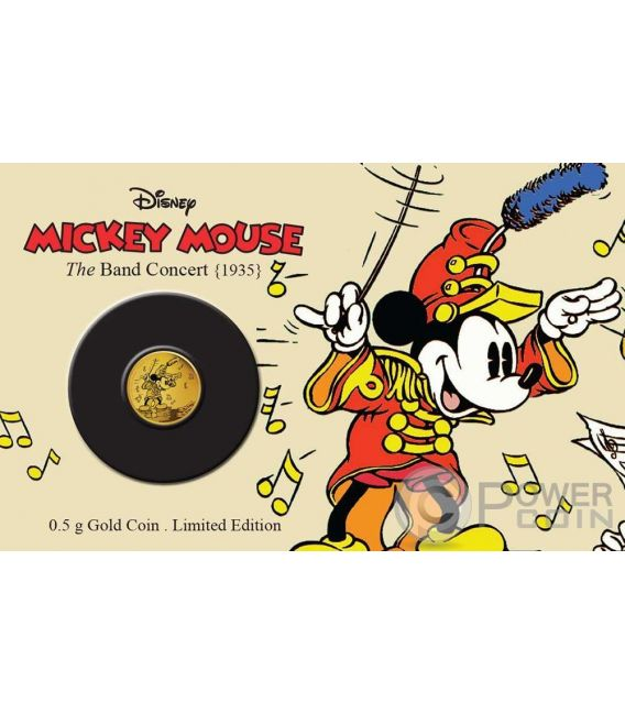 MICKEY BAND CONCERT Through The Ages Disney Moneda Oro 2.5$ Niue 2016