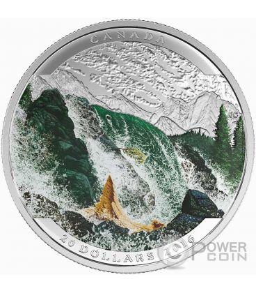 SALMON Salmone Landscape Illusion Illusione Moneta Argento 20$ Canada 2016