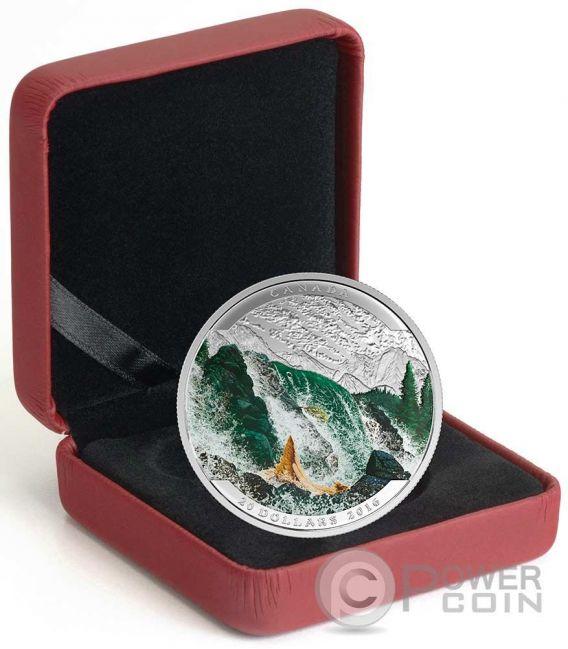 SALMON Landscape Illusion Silber Münze 20$ Canada 2016
