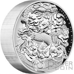 DRAGON AND HIS NINE SONS Chinese Mythology 5 Oz Silver Coin 5$ Tuvalu 2016