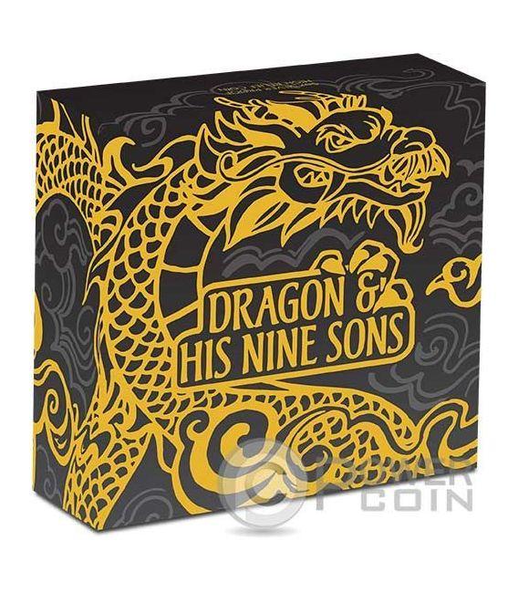 DRAGON AND HIS NINE SONS Chinese Mythology 5 Oz Silber Münze 5$ Tuvalu 2016