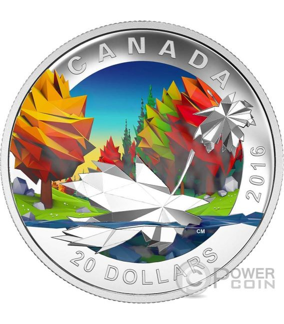 MAPLE LEAF Geometry In Art Dimensional Design Silver Coin 20$ Canada 2016