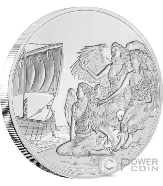 SIRENS Creatures of Greek Mythology 1 Oz Moneda Plata 2$ Niue 2016