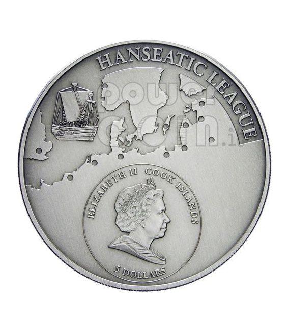 LUBECK Hanseatic League Hansa Moneda Plata 5$ Cook Islands 2009