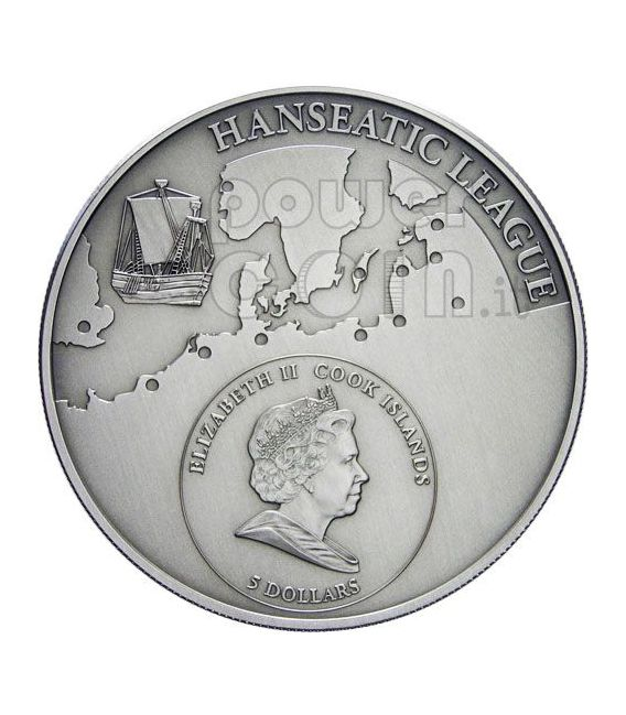 LUBECK Lega Anseatica Lubecca Moneta Argento 5$ Cook Islands 2009