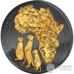GOLDEN ENIGMA African Meerkat 1 Oz Silver Coin 50 Francs Rwanda 2016