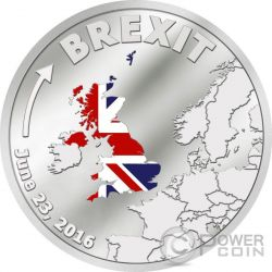 BREXIT United Kingdom 23rd June Out Of European Union Silber Münze 1$ Cook Islands 2016