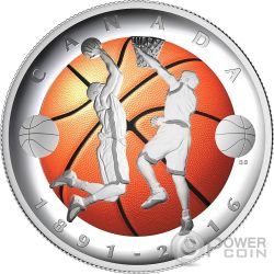BASKETBALL 125 Anniversary Convex Moneda Plata 25$ Canada 2016