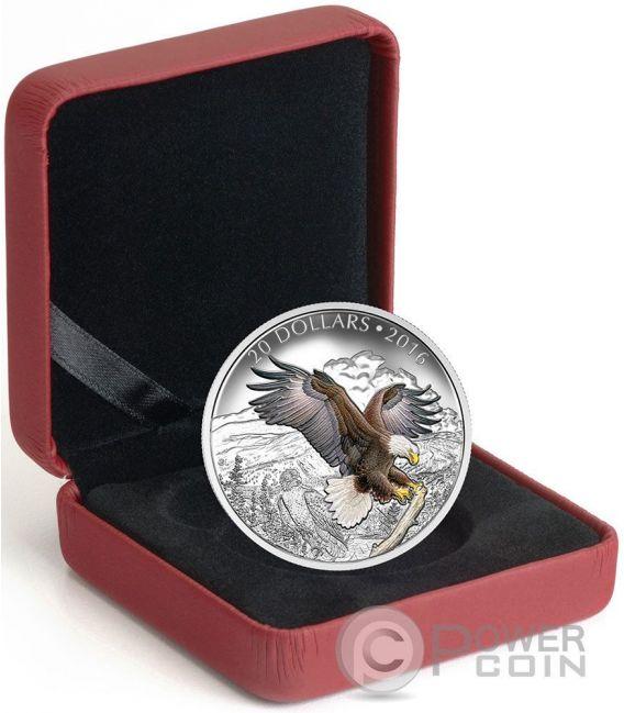 BARONIAL BALD EAGLE Aquila Calva Majestic Animal Moneta Argento 20$ Canada 2016