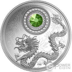 BIRTHSTONES AUGUST Gemstone Swarovski Silver Coin 5$ Canada 2016