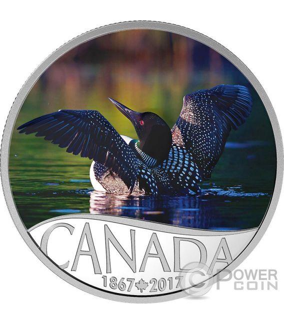 COMMON LOON Gavia 150 Anniversario Moneta Argento 10$ Canada 2017
