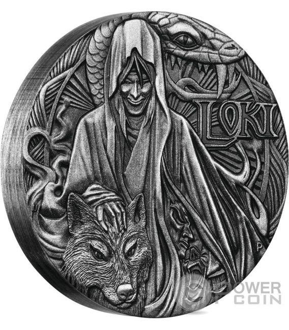 LOKI Norse Gods The God Of Fire 2 Oz Moneda Plata 2$ Tuvalu 2016