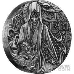 LOKI Norse Gods The God Of Fire 2 Oz Silber Münze 2$ Tuvalu 2016