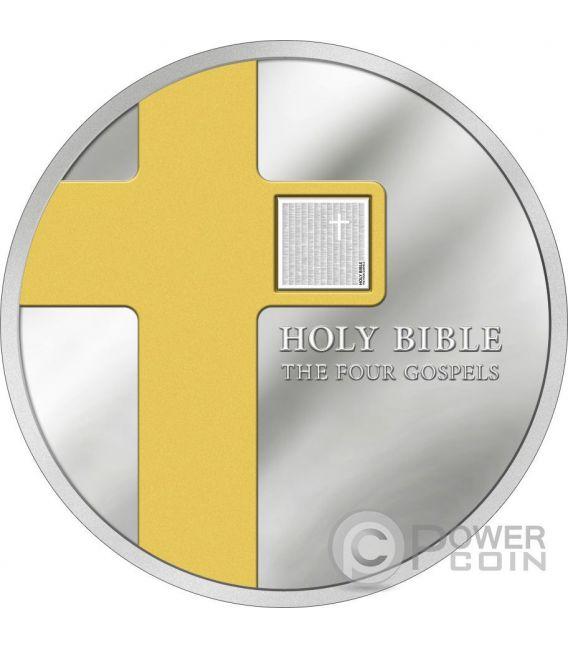 FOUR GOSPELS Holy Bible Nano Chip 1 Oz Silber Münze 5 Dollars Cook Islands 2016