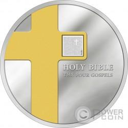 FOUR GOSPELS Holy Bible Nano Chip 1 Oz Moneda Plata 5 Dollars Cook Islands 2016