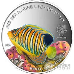 REGAL ANGELFISH Red Sea Marine Life 1 Oz Silver Coin 5$ Palau 2016