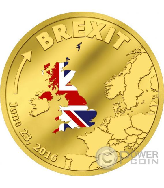 BREXIT United Kingdom 23rd June Out Of European Union Moneda Oro 20$ Cook Islands 2016