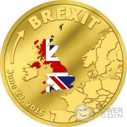 BREXIT United Kingdom 23rd June Out Of European Union Gold Münze 20$ Cook Islands 2016
