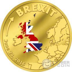 BREXIT United Kingdom Regno Unito 23 Giugno Fuori Unione Europea Moneta Oro 20$ Cook Islands 2016