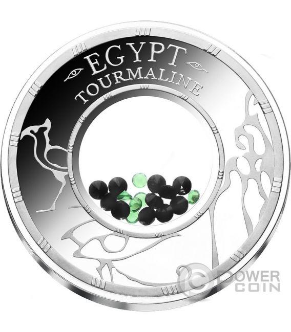 TOURMALINE Egypt Treasures Crystals 1 Oz Moneda Plata 1500 Francs Benin 2016