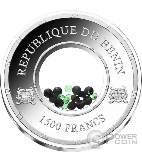 TOURMALINE Egypt Treasures Crystals 1 Oz Silber Münze 1500 Francs Benin 2016