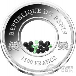 TOURMALINE Egypt Treasures Crystals 1 Oz Silver Coin 1500 Francs Benin 2016