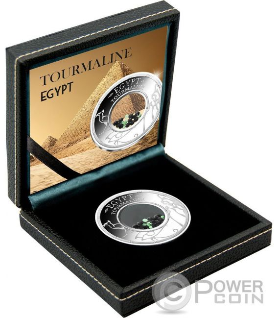 TOURMALINE Egypt Treasures Crystals 1 Oz Silver Coin 1500 Francs Benin 2016