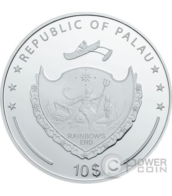 HAND OF FATIMA Hamsa Amulet Talisman Khamsa Swarovski 2 Oz Silver Coin 10$ Palau 2016