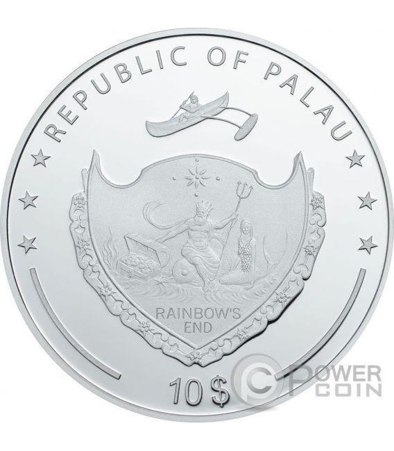 HAND OF FATIMA Hamsa Mano de Fatima Amuleto Talisman Khamsa Swarovski 2 Oz Moneda Plata 10$ Palau 2016