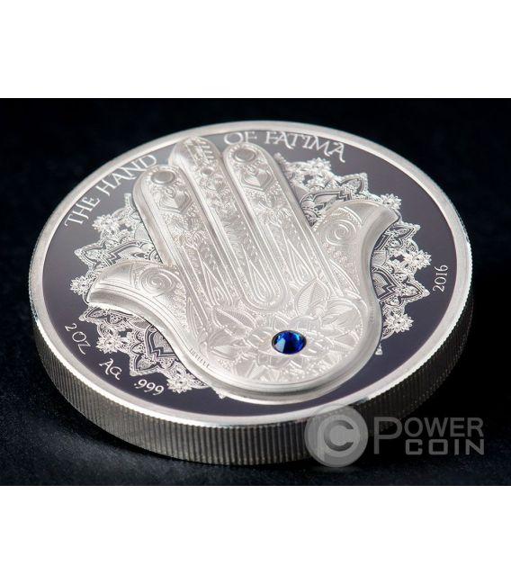 HAND OF FATIMA Hamsa Amulet Talisman Khamsa Swarovski 2 Oz Silber Münze 10$ Palau 2016