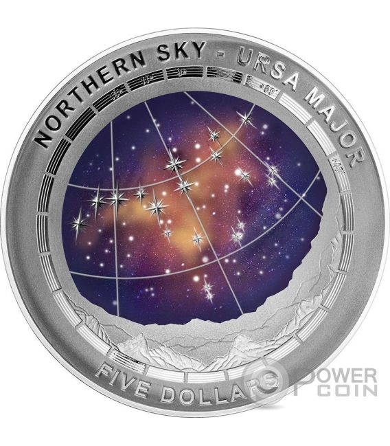 URSA MAJOR CONSTELLATION Northern Sky Curved Domed Silber Münze 5$ Australia 2016