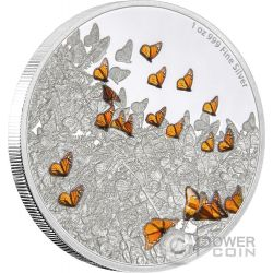 MONARCH BUTTERFLY Monarca Farfalla Great Migrations Migrazione 1 Oz Moneta Argento 2$ Niue 2016