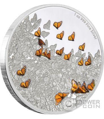 MONARCH BUTTERFLY Monarca Farfalla Great Migrations Migrazione 1 Oz Moneta Argento 2$ Niue 2016