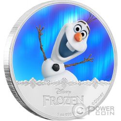 OLAF Disney Frozen Magic of the Northern Lights 1 Oz Moneta Argento 2$ Niue 2016