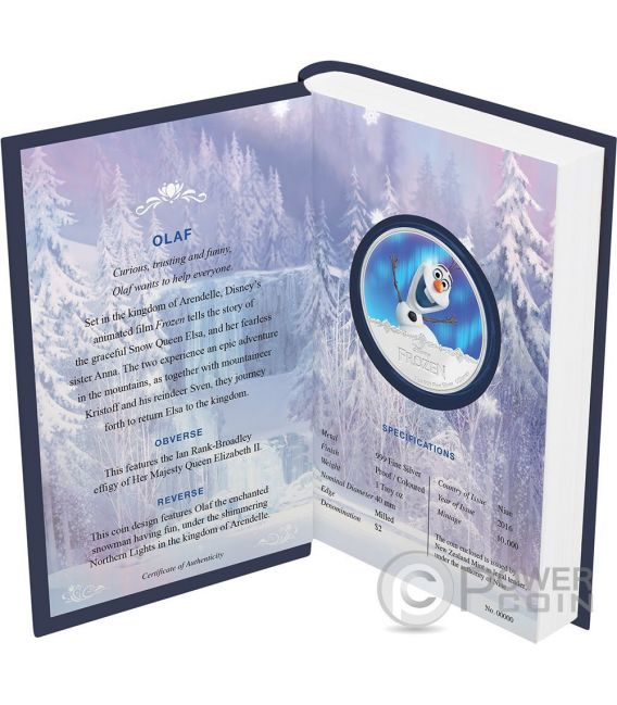 OLAF Disney Frozen Magic of the Northern Lights 1 Oz Silver Coin 2$ Niue 2016