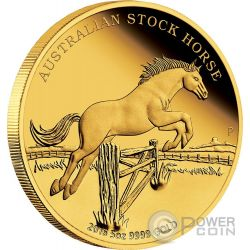AUSTRALIAN STOCK HORSE 5 Oz Gold Münze 500 Dollars Australia 2016