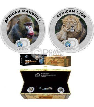 AFRICAN LION MADRILL Leone Madrillo Discovery Endangered Species Set 2 Monete Argento 2 Dollari Niue 2016