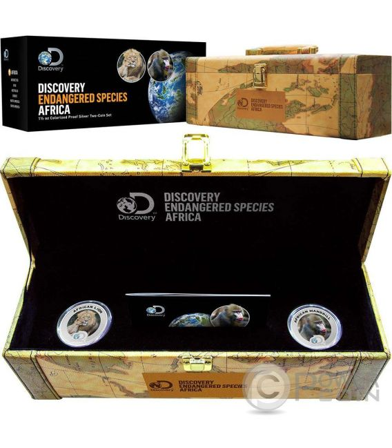 AFRICAN LION MADRILL Discovery Endangered Species Set 2 Silber Münzen 2 Dollars Niue 2016