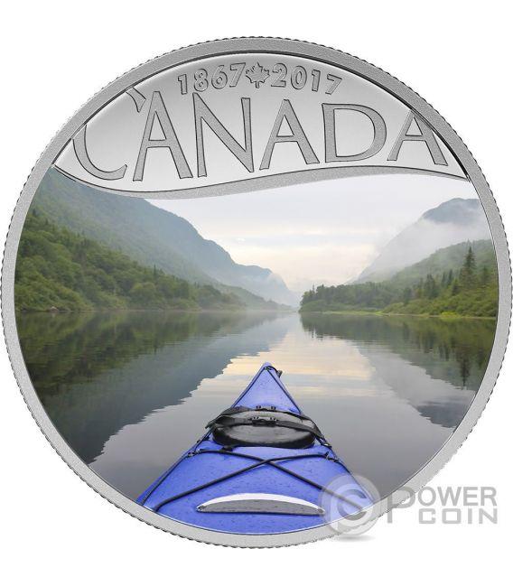 KAYAKING ON THE RIVER Kayak Sul Fiume 150 Anniversario Moneta Argento 10$ Canada 2017